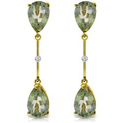 ALARRI 14K Solid Gold Diamonds & Green Amethysts Dangling Earrings