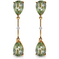 ALARRI 14K Solid Rose Gold Diamonds & Green Amethysts Dangling Earrings