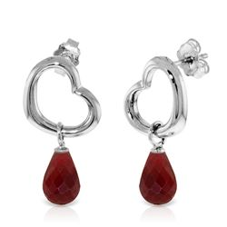 ALARRI 14K Solid White Gold Heart Earrings w/ Dangling Natural Rubies