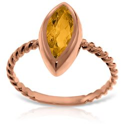 ALARRI 14K Solid Rose Gold Rings w/ Natural Marquis Citrine