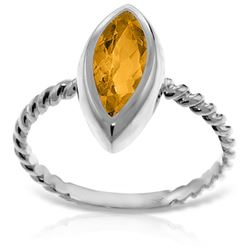 ALARRI 14K Solid White Gold Rings w/ Natural Marquis Citrine