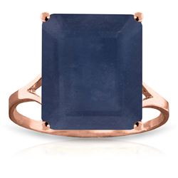 ALARRI 14K Solid Rose Gold Ring w/ Natural Octagon Sapphire