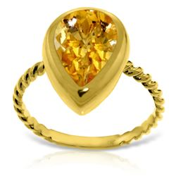 ALARRI 14K Solid Gold Rings w/ Natural Pear Shape Citrine