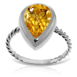 ALARRI 14K Solid White Gold Rings w/ Natural Pear Shape Citrine