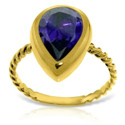 ALARRI 14K Solid Gold Rings w/ Natural Pear Shape Sapphire