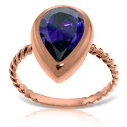 ALARRI 14K Solid Rose Gold Rings w/ Natural Pear Shape Sapphire