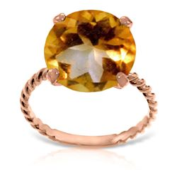 ALARRI 14K Solid Rose Gold Ring w/ Natural 12.0 mm Round Citrine