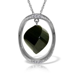 ALARRI 14K Solid White Gold Necklace w/ Natural Twisted Briolette Black Spinel & Diamonds