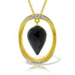 ALARRI 14K Solid Gold Necklace w/ Diamonds & Briolette Pointy Drop Black Spinel