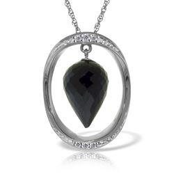 ALARRI 14K Solid White Gold Necklace w/ Diamonds & Briolette Pointy Drop Black Spinel