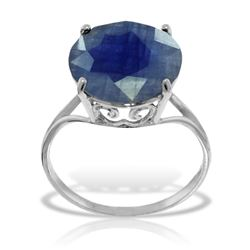ALARRI 14K Solid White Gold Ring w/ Natural 12.0 mm Round Sapphire