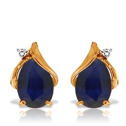 ALARRI 14K Solid Rose Gold Studs Earrings w/ Natural Diamonds & Sapphires