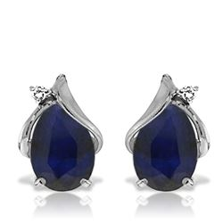 ALARRI 14K Solid White Gold Studs Earrings w/ Natural Diamonds & Sapphires