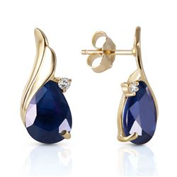 ALARRI 14K Solid Gold Studs Earrings w/ Natural Diamonds & Sapphires
