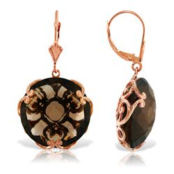 ALARRI 14K Solid Rose Gold Leverback Earrings w/ Checkerboard Cut Round Smoky Quartz