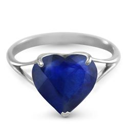 ALARRI 14K Solid White Gold Ring w/ Natural 10.0 mm Heart Sapphire
