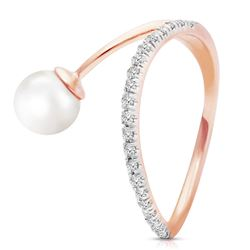 ALARRI 14K Solid Rose Gold Ring w/ Natural Diamonds & Pearl