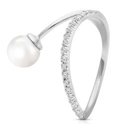 ALARRI 14K Solid White Gold Ring w/ Natural Diamonds & Pearl