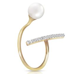 ALARRI 14K Solid Gold Ring w/ Natural Diamonds & Pearl