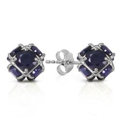 ALARRI 14K Solid White Gold Stud Earrings w/ Natural Sapphires