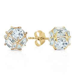 ALARRI 14K Solid Gold Stud Earrings w/ Natural Aquamarines