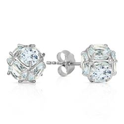 ALARRI 14K Solid White Gold Stud Earrings w/ Natural Aquamarines