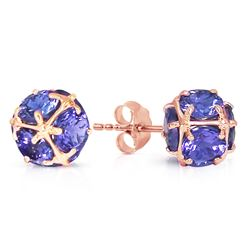ALARRI 14K Solid Rose Gold Stud Earrings w/ Natural Tanzanites