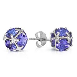 ALARRI 14K Solid White Gold Stud Earrings w/ Natural Tanzanites