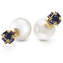 ALARRI 14K Solid Gold Tribal Double Shell Pearls And Sapphires Stud Earrings