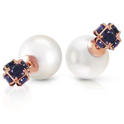 ALARRI 14K Solid Rose Gold Tribal Double Shell Pearls And Sapphires Stud Earrings