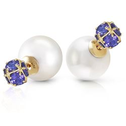 ALARRI 14K Solid Gold Tribal Double Shell Pearls And Tanzanites Stud Earrings