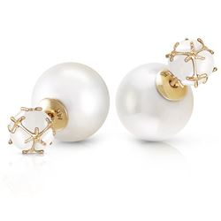 ALARRI 14K Solid Gold Tribal Double Shell Pearls And Opals Stud Earrings