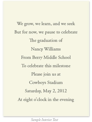 Class Of  Traditional Graduation Invitations