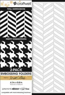 Teresa Collins 2-Pack A6 Folders, Twill Herringbone & Preppy Houndstooth