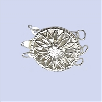 Sterling Silver Filigree - Large Round Clasp - 3 row