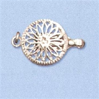 Sterling Silver Filigree - Large Round Clasp - 1 row