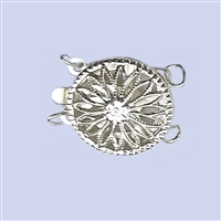 Sterling Silver Filigree - Large Round Clasp - 2 row