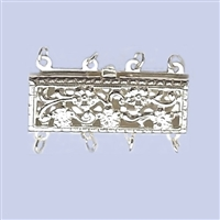 Sterling Silver Filigree - Large Rectangle Clasp - 4 row