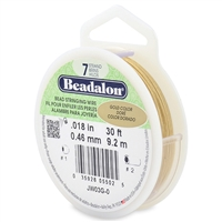 "7 Strand .018"" Gold Plated Beadalon Beading Wire 30 Foot Spool"