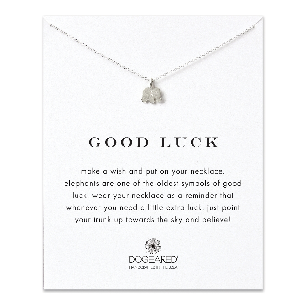 Dogeared sterling silver good luck necklace with elephant charm dogeared good luck sterling silver elephant necklace aloadofball Image collections