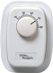 White Rodgers 1G66-641 Line Voltage Mechanical Bimetal, SPST, Open on Rise, No Thermometer, Wallplate Included, w/ OFF Position (White)