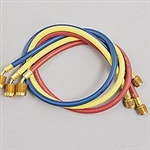 "Yellow Jacket 21982 3-pack PLUS II 1/4"" with STANDARD Fitting HVAC Hoses 36"" Red/Blue, 60"" Yellow"