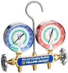 "Yellow Jacket 41842 Manifold only, Psi, R-12/22/134A w/ 3-18"" Color-Coded Gauges (Boxed)"