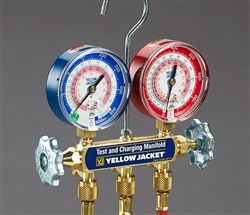 "Yellow Jacket 42004 Series 41 Manifold w/3-1/8"" Gauge, Color Coded Scales, Psi, R-22/404A/410A"