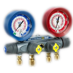"Yellow Jacket 46042 Brute II Test & Charge Manifold, (F) with 60"" RYB and 3/8"" x 45°, Red/Blue gauges, R-22/134a/404A"