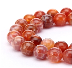 Natural Red Fire Agate Gemstone Beads