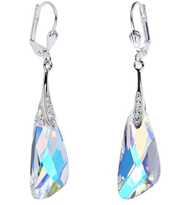 7840ac332 Sterling Silver Dangle Earrings with Swarovski Crystal