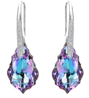 Sterling Silver Dangle Earrings Vitrial Light Purple Swarovski Elements Crystal Hooks Adorned W Diamond Simulants Sse7