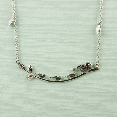 Four Birds On a Branch Necklace