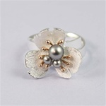 Black Pearls Silver Ring